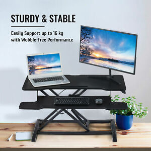 Crenex Sit-Stand Computer Desk Converter Height adjustable Dual Tiered 91.5x40cm