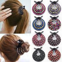Women's Crystal Rhinestone Hair Clips Claw Clamp Bun Net Hairpin Ponytail Holder