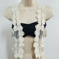 Teenbell Womens Vest (P) White Floral Lace Cropped Crochet Top Juniors 1