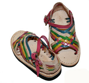 Kid's Baby Toddler Authentic Huarache Mexican Rainbow Color Sandal Pachuco