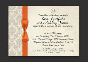 PERSONALISED WEDDING AND/OR EVENING INVITATIONS ORANGE IVORY DAMASK