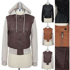 Faux Leather Body Fleece Sleeves Bomber Jacket with Removable Hoodie Zippered