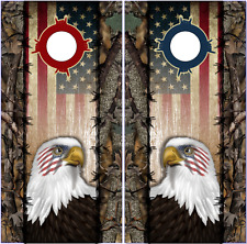 Wicked Wire Eagle Flag Camo Cornhole Wrap Bag Toss Skin Decal Sticker