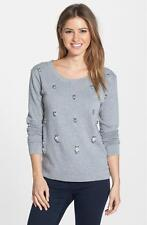 JESSICA SIMPSON Johanna Embellished Cotton Pullover size Small Gray