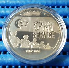 1992 Singapore 25 Years of National Service 1 oz Silver Proof Medallion