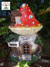 Solar fairy garden toadstool house bakery - lights up at night mushroom fairies