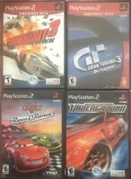 Playstation 2 Car Racing Game Lot Of 4 GRAN TURISMO3  Burnout 3 Cars Need 4speed