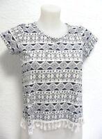 haut à franges  ♥ FB SISTER ♥ Taille XS 32 34 36 crop top T shirt femme