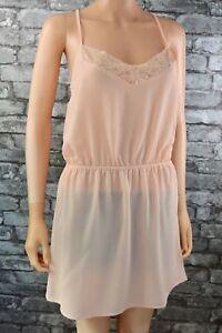 Ex Catalog Light Peach Pink Sleeveless Lace Nightie Nightdress Lingerie Size 10