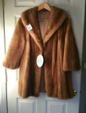 Vintage CUTTER/CRAFT REPAIR Natural Real MINK FUR COAT Jacket Brown Size S / M