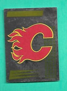 (1) CALGARY FLAMES 1992-93 PANINI FRENCH STICKER LOGO FOIL CARD (RARE ) (V2932)