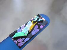 "Czech Crystal Glass Nail File Blue adorned with Stack Dichroic Glass 5 1/2"" File"