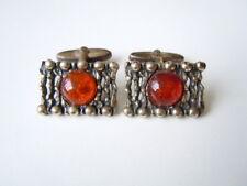 Alte Modernist Honig Bernstein Manschettenknöpfe aus 835 Silber 13,2 g Amber