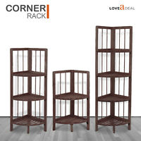 Finest Wooden Corner Shelf Standing Shelving Rack Home Decoration Coffee 2-4Tier