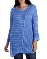 1X Democracy Blue Fine Knit Tunic Sweater Asymmetrical 3/4 Sleeves Slimming
