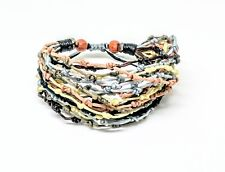 Handcrafted Brown Tones Knot Wax Cotton Fairtrade Womens BRACELET Wristband