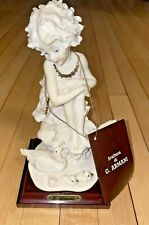 """Vintage Florence 7"""" Sculpture By G. Armani Girl Adoring Mother Duck & Baby Ducks"""
