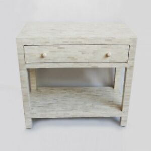 MADE TO ORDER Bone Inlay Indian Handicraft White Bedside Table Lamp Table