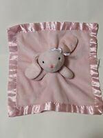 "Cuddle Time Pink Bunny Rabbit Plush Baby Security Blanket Lovey Satin Trim 12"""