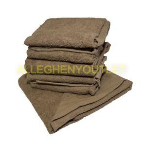 "5 Pack - USGI Military 100% Cotton Bath Towel 24x50"" Brown NEW"