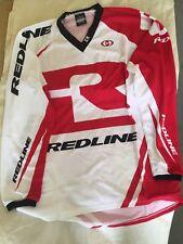 Redline Flight Long Sleeve Jersey Adult Medium White/Red Redline Race Shirt New