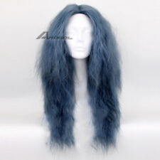 Magic Black Forest Witch Cosplay Wig Blue Long Curly Yaki Fluffy Synthetic Wigs
