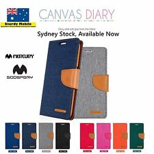 Mercury Goospery Canvas Diary Wallet Leather Case Cover iPhone 78+Galaxy S9 S9+