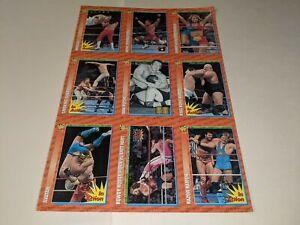 1996 WWF MAGAZINE TRADING CARDS UNCUT 9-Card #10-18 Sheet Set Hakushi/HBK/Putski
