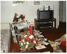 Vintage 80s Photo Interior Living Room w/ Christmas Cards, Candle & Tv