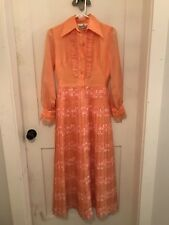 Vintage Alfred Shaheen Gown Dress Orange Floral Pleated Ladies Size 6