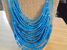 """BLUE/CRYSTAL MULTI STRAND SEED BEADED 22"""" NECKLACE W/MATCHING PIERCED EARRINGS"""