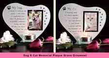 Cat & Dog Memorial Candle Holder Glass Photo Frame Loving Memory Grave Keepsake