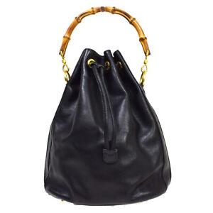 GUCCI Logo Bamboo Drawstring Hand Tote Bag Leather Black Gold Italy 07MK539