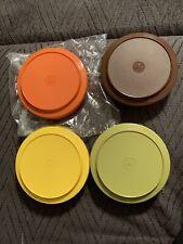 Vtg Tupperware Seal N Serve Bowls & Lids1206,1207 Harvest Set of 4 Never Used
