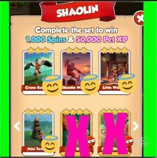 Full  New Shaolin  Set 4 white Coin Master Cards( Fast Delivery!!!)