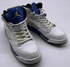 Boy's Air Jordan Retro 5 Laneys White/Blue/Yellow Sneaker - Size 7 Youth
