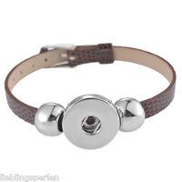 1 PU Leder Armband Armbänder Basis-Band 5.5mm Knopf Buttons Perlen Kaffeebraun