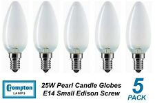 5 x 25W Pearl E14 Candle Shaped Light Globes / Bulbs / Lamps Small Edison Screw