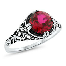 2.5 CT RED LAB RUBY 925 STERLING SILVER ANTIQUE FILIGREE STYLE RING SIZE 9,#641