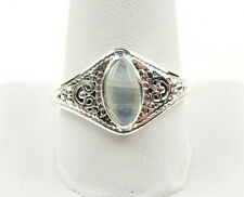 Sterling Silver 3.0 ct Moonstone Cabochon Filigree Ring - Free Gift Packaging