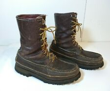 W.C. Russell Moccasin Co Brown Leather Lace Up Boot SZ 8.5B Berlin Wisconsin