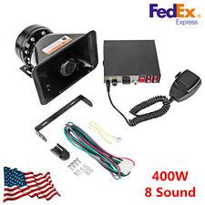 400W 8 Sound Horn Amplifier Car Warning Alarm Police Siren Speaker PA MIC System