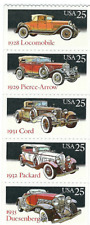Scott #2381/5....25 Cent...Classic Cars...Booklet Pane with 5 Stamps