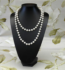 Ladies Faux Pearl Bead Rope Necklace 48 Inches Long 10mm White Beads Pearls E7