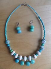 NEW Handmade 2pc Matching Set Turquoise Necklace and Earrings