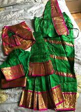 Green Pink 100% Pure Silk Dharmavaram Bharatnatyam Dance Costume Women's M India