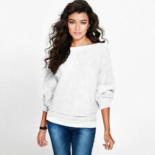 Womens Batwing Sleeve Knitted Sweater Shirt Pullover Baggy Loose Top Sweater USA