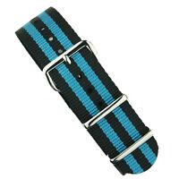 B & R Bands Black/Blue Bond Premium Nylon Military Style Watch Band Strap