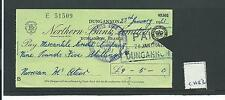 wbc. - CHEQUE - CH53- USED -1960 - NORTHERN BANK, DUNGANNON - OLD SORT CODE CLIP