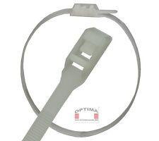 Kabelbinder 350 mm x 7,5 mm Klar - Weiß  wieder lösbar im 100er Set